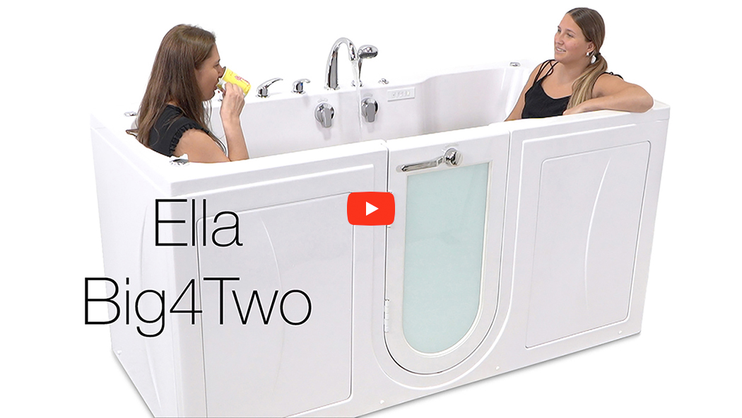 big two two seat acrylic outward swing door walk in bathtub with independently operated foot massage