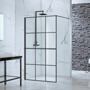 toure in x in frameless fixed shower door screen in black without handle