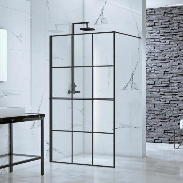 39 in. x 77 in. Frameless Fixed Shower Door Screen in Black without Handle