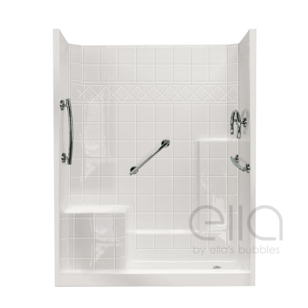multi piece low threshold shower with molded seat