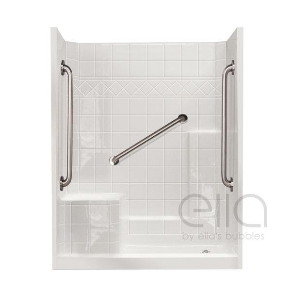 Multi-Piece Low Threshold Shower with Molded Seat