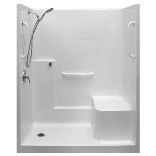 One Piece Low Threshold Shower with Molded Seat