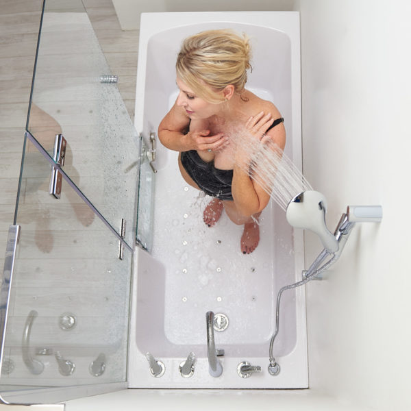 32x72 laydown walk-in tub with shower screen and hand shower with 5pc faucet