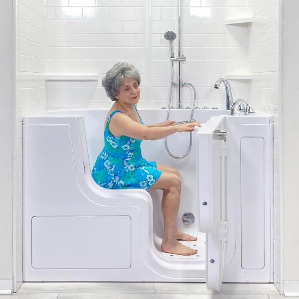 Old Lady in Transfer Bubble Walk In Tub with Door and Seat for Elderly Disabled Handicap