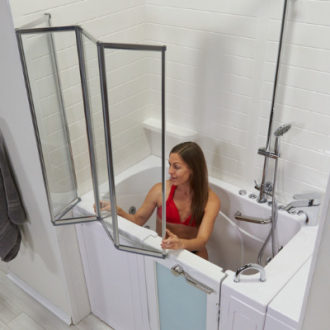 Ellas Bubbles Fold Shower Column Kit for Walk In Tubs with Door and Seat for Disabled or Elderly Handicap
