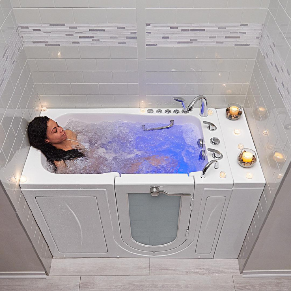 Girl in Bubble Walk In Tub with Door and Seat for Elderly Disabled Handicap