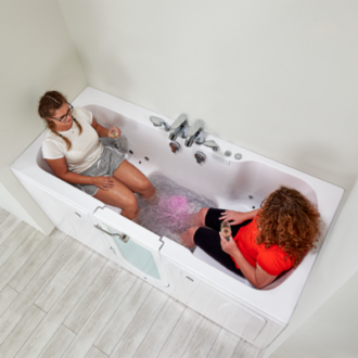 Two Ladies in Two Person Two Seat Walk In Bubble Tub with Door and Seat for Handicap Elderly Disabled