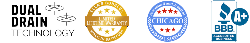 Ellas Bubbles - BBB Accredited Business Logo for Walk In Tubs with Door and Seat for Disabled or Elderly Handicap - Transparent - Updated