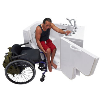 Transfer_30_Dual_Massage_Model_Shot_Right_Mid_Door_Open_Getting_In_Tub_Wheel_Chair_Whiteout