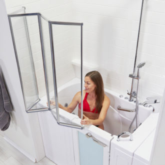 Ella's Bubbles 4 Fold Shower Column Kit for Walk In Tubs with Door and Seat for Disabled or Elderly Handicap