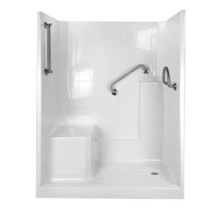 shower with molded seat x dual bent and circle grab bars in brushed nickel