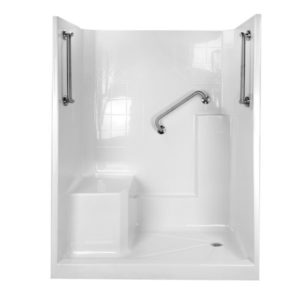 shower with molded seat and x dual bent grab bars in brushed nickel