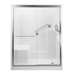 shower with molded seat sliding glass door in brushed nickel dual bent and circle grab bars