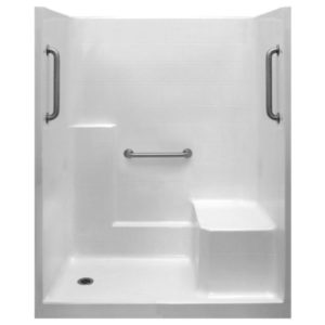 Classic Grab Bar Kit One Piece Low Threshold Shower With Molded Seat AcrylX