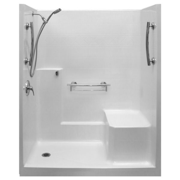 imperial valve kit one piece low threshold shower with molded seat acrylx