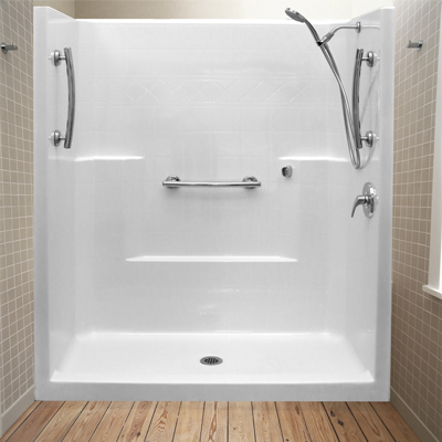 One piece fiberglass shower stall with seat one piece fiberglass shower stalls bing images 10 - Walk in shower base kit ...