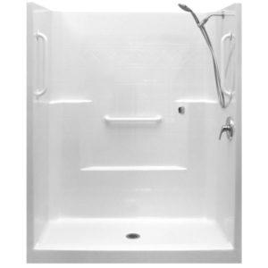 white grab bar valve kit one piece low threshold shower acrylx