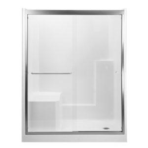 tempered glass sliding shower door in brushed nickel finish
