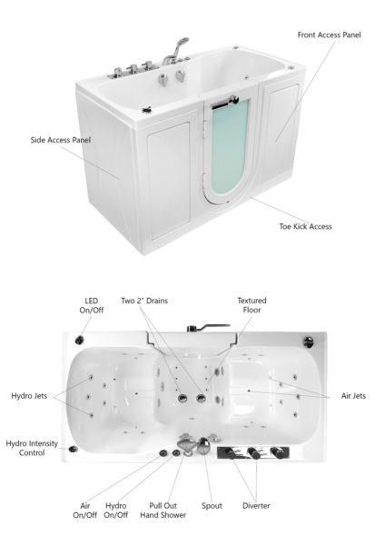 tub two two seat acrylic outward swing door walk in bathtub